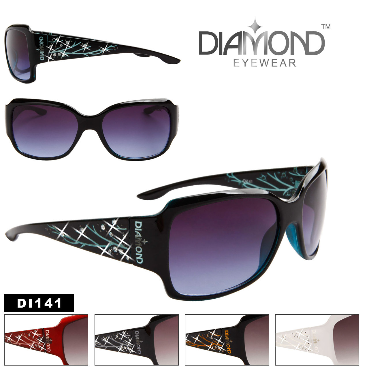 Women's Rhinestone Sunglasses - Diamond™ Eyewear - Style # DI141 (Assorted Colors) (12 pcs.)