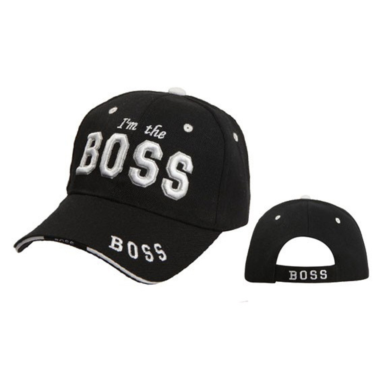 "Wholesale Baseball Cap C5198 ""I'm the Boss"" Black"