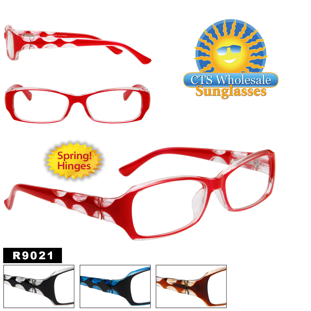 Reading Glasses - R9021 (12 pcs.) Spring Hinges ~ Assorted Colors ~ Lens Strengths +1.00—+3.50