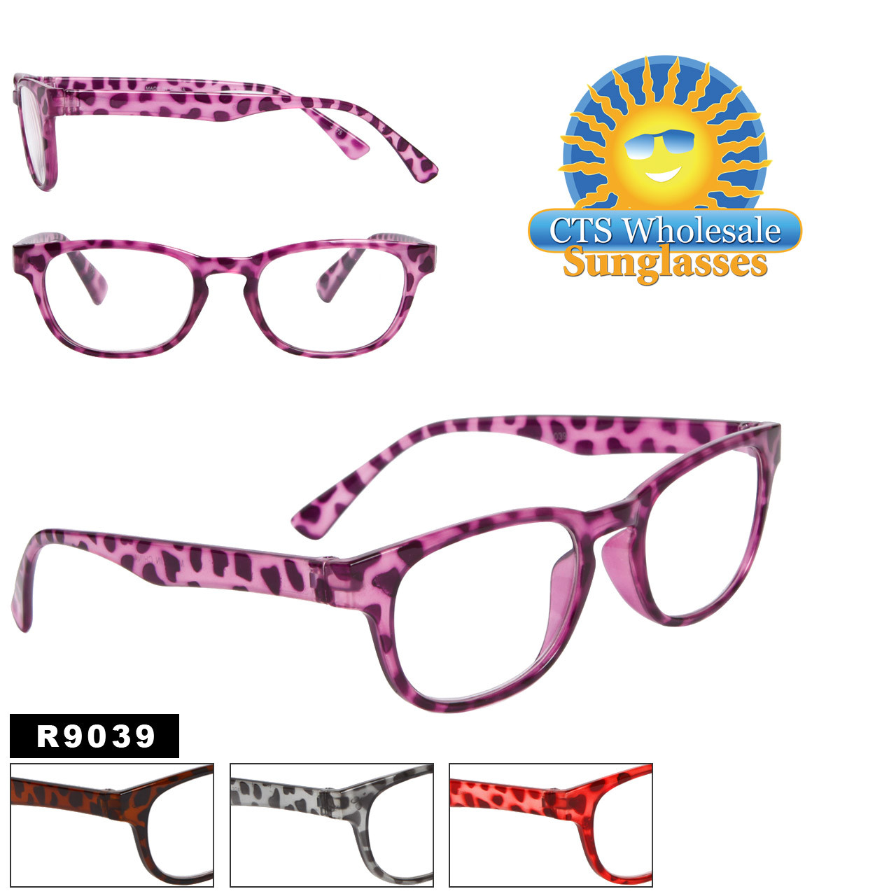 Reading Glasses - R9039 (12 pcs.) Assorted Colors ~ Lens Strengths +1.00—+3.50