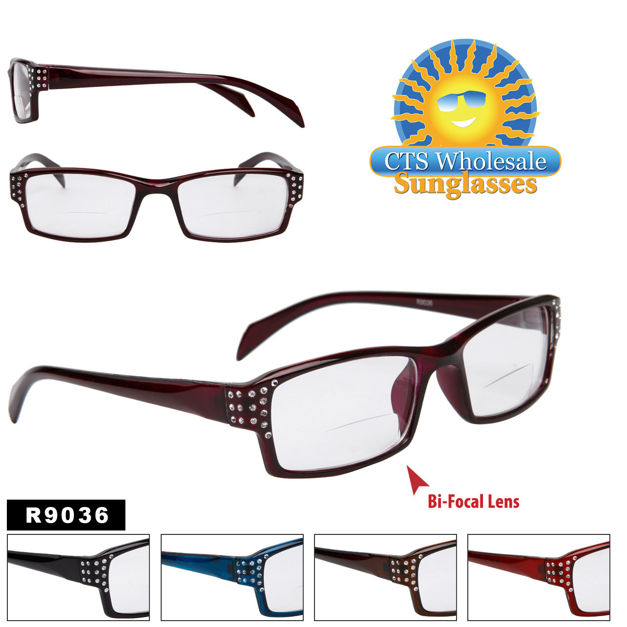 Bi-Focal Reading Glasses - R9036 (12 pcs.) Assorted Colors ~ Lens Strengths +1.00—+3.50