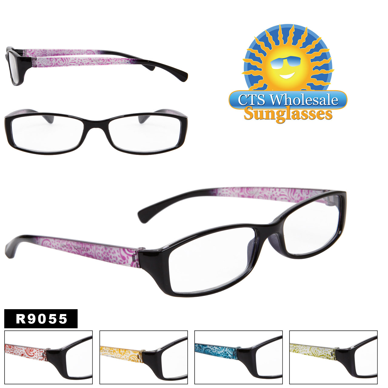 Reading Glasses - R9055 (12 pcs.) Assorted Colors ~ Lens Strengths +1.00—+3.50