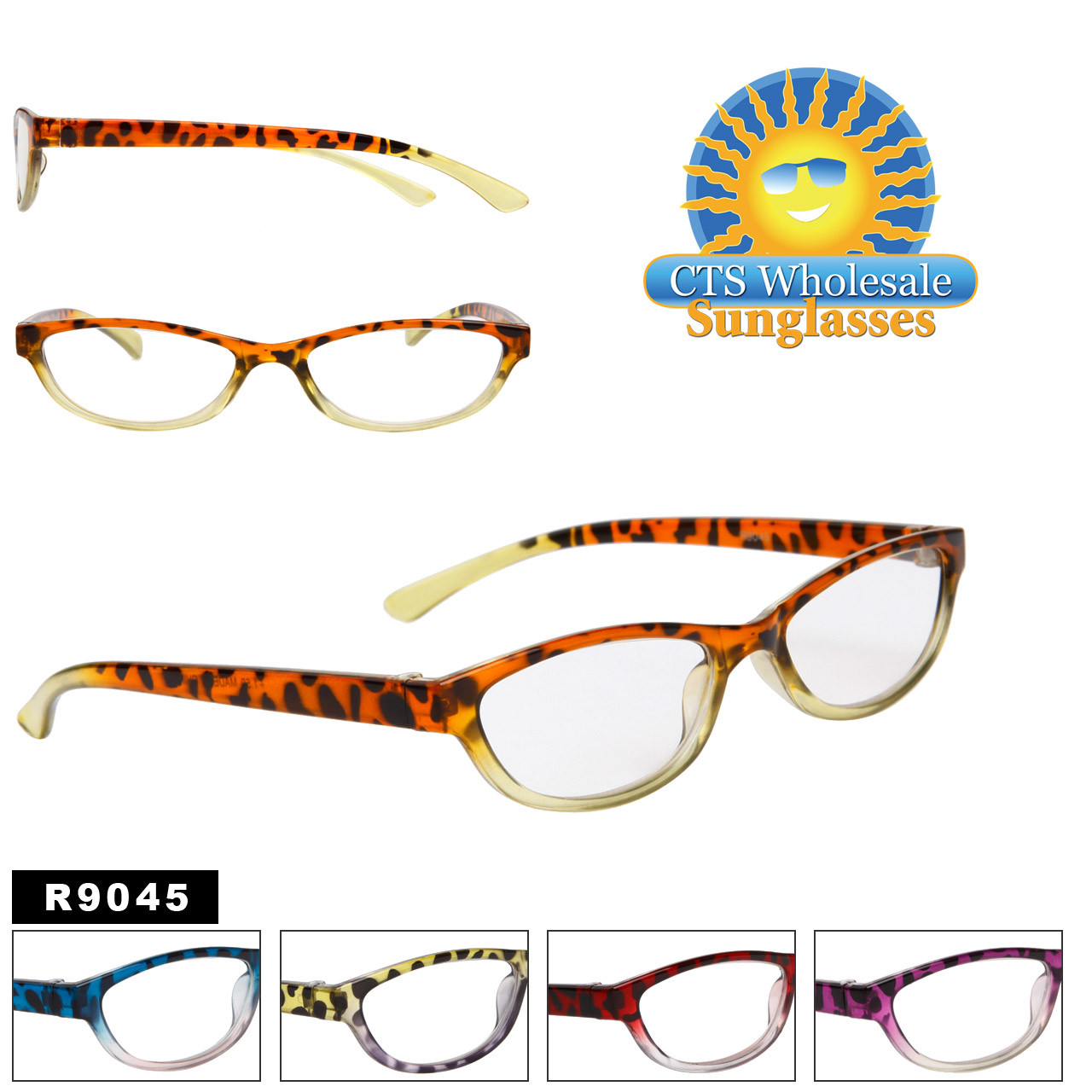 Reading Glasses - R9045 (12 pcs.) Assorted Colors ~ Lens Strengths +1.00—+3.50