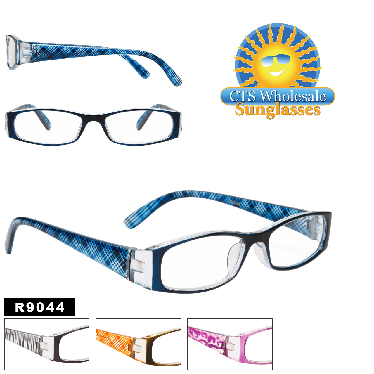 Reading Glasses - R9044 (12 pcs.) Assorted Colors ~ Lens Strengths +1.00—+3.50