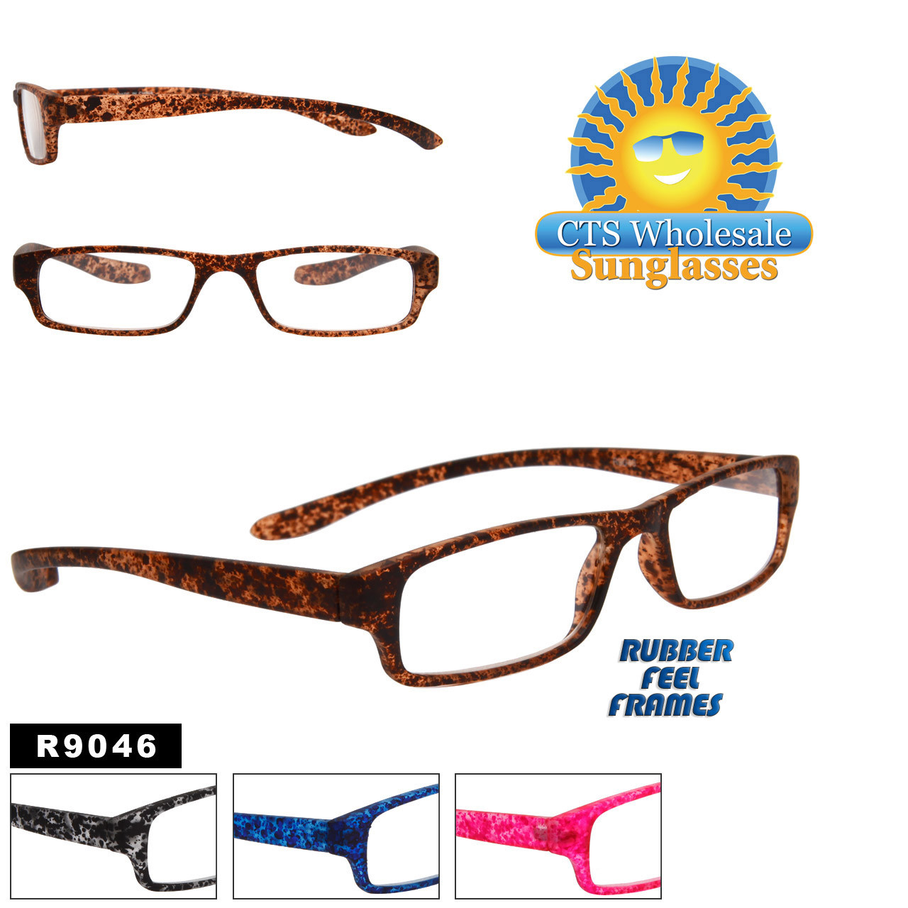 Reading Glasses - R9046 (12 pcs.) Assorted Colors ~ Lens Strengths +1.00—+3.50