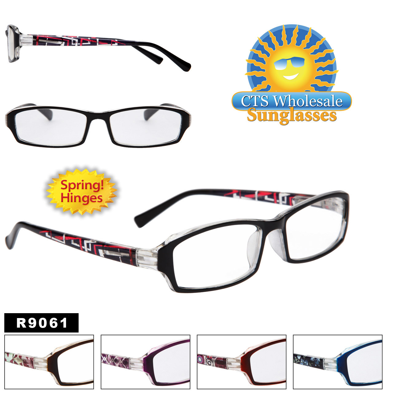 Reading Glasses - R9061 (12 pcs.) Spring Hinges ~ Assorted Colors ~ Lens Strengths +1.00—+3.50