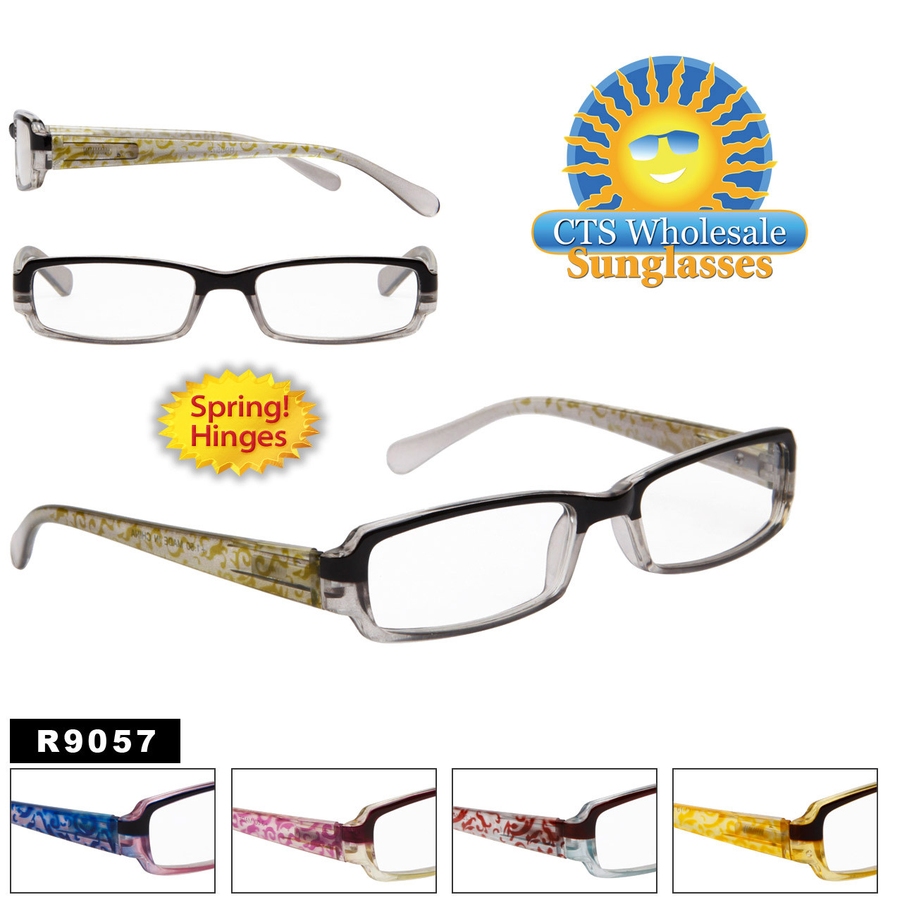 Reading Glasses - R9057 (12 pcs.) Spring Hinges ~ Assorted Colors ~ Lens Strengths +1.00—+3.50