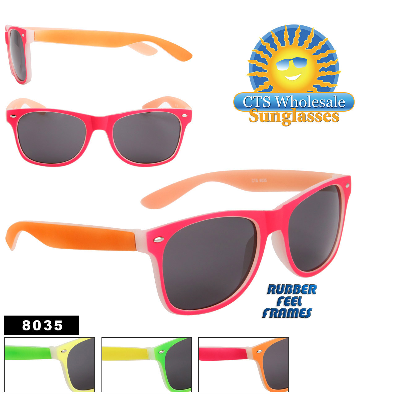 Neon Color California Classics Sunglasses - 8035 Rubber Feel Frame - (Assorted Colors) (12 pcs.)