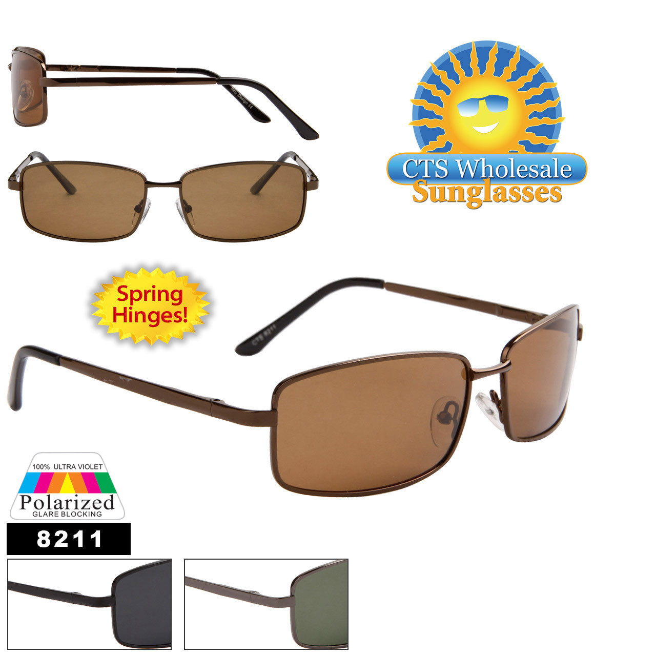 Polarized Wholesale Sunglasses - Style # 8211 Spring Hinge (Assorted Colors) (12 pcs.)