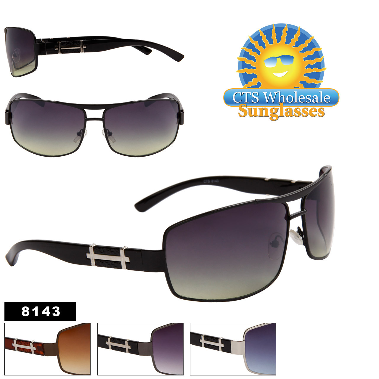 Metal Sunglasses Wholesale - 8143 (Assorted Colors) (12 pcs.)
