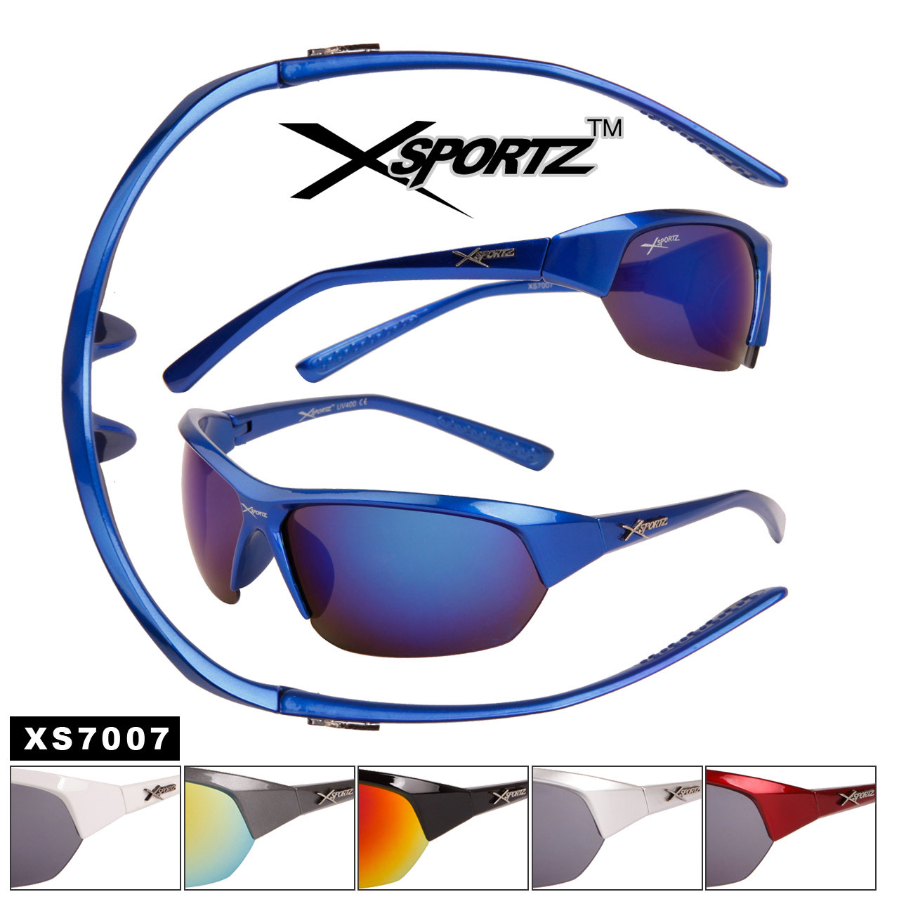 Sport Wholesale Men's Sunglasses - Style # XS7007 (Assorted Colors) (12 pcs.)