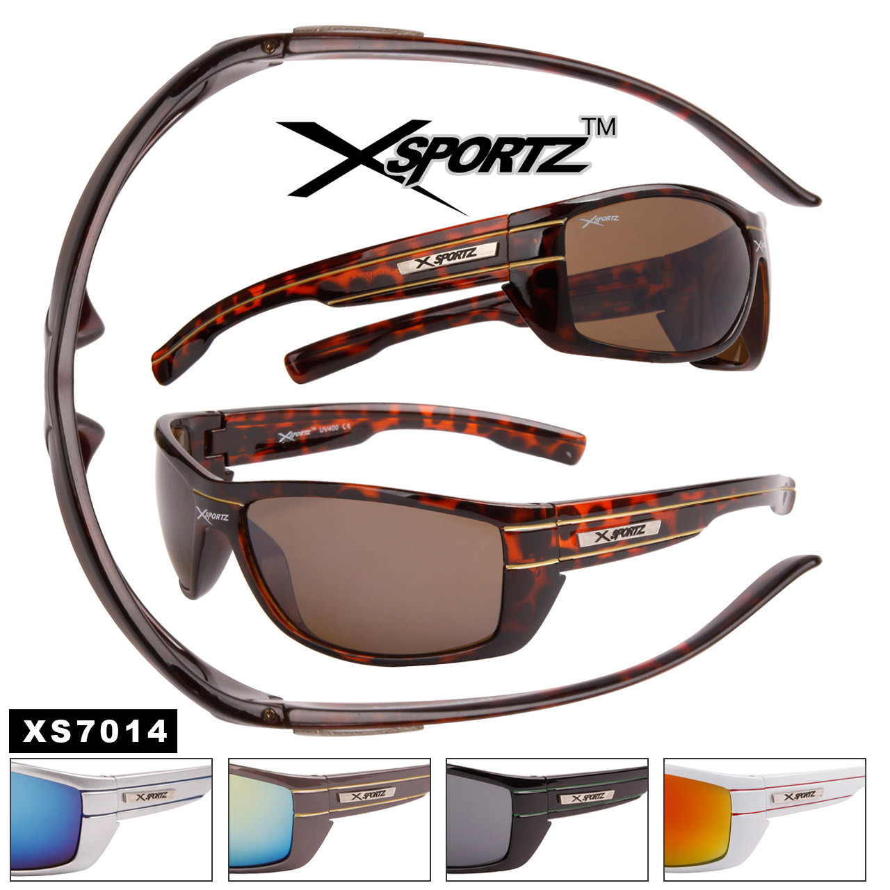 Xsportz™ Wholesale Sports Sunglasses - Style #XS7014 (Assorted Colors) (12 pcs.)