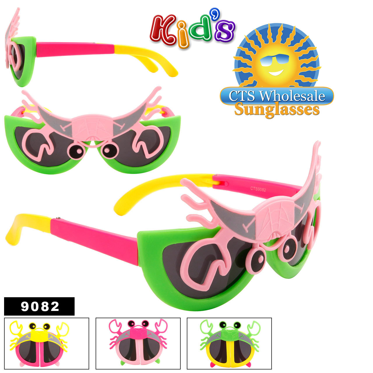Folding Sunglasses For Kids by the Dozen - Style #9082 Green/Hot Pink with Light Pink Crab