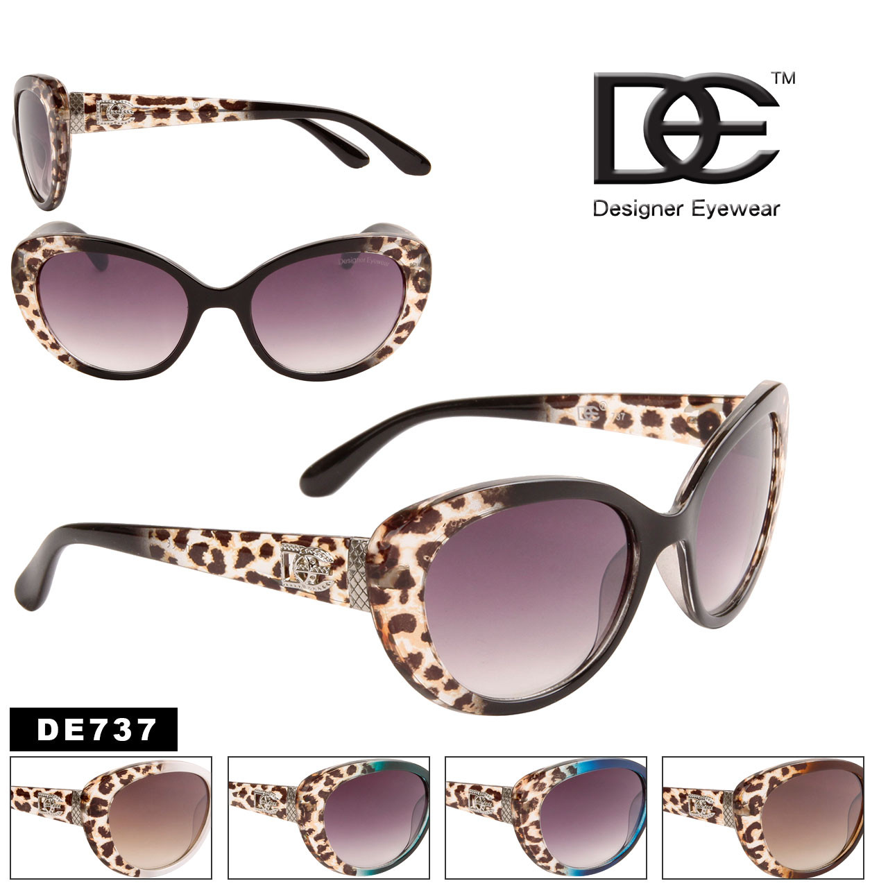 Wholesale Vintage Cat Eye Sunglasses - Style #DE737 (Assorted Colors) (12 pcs.)