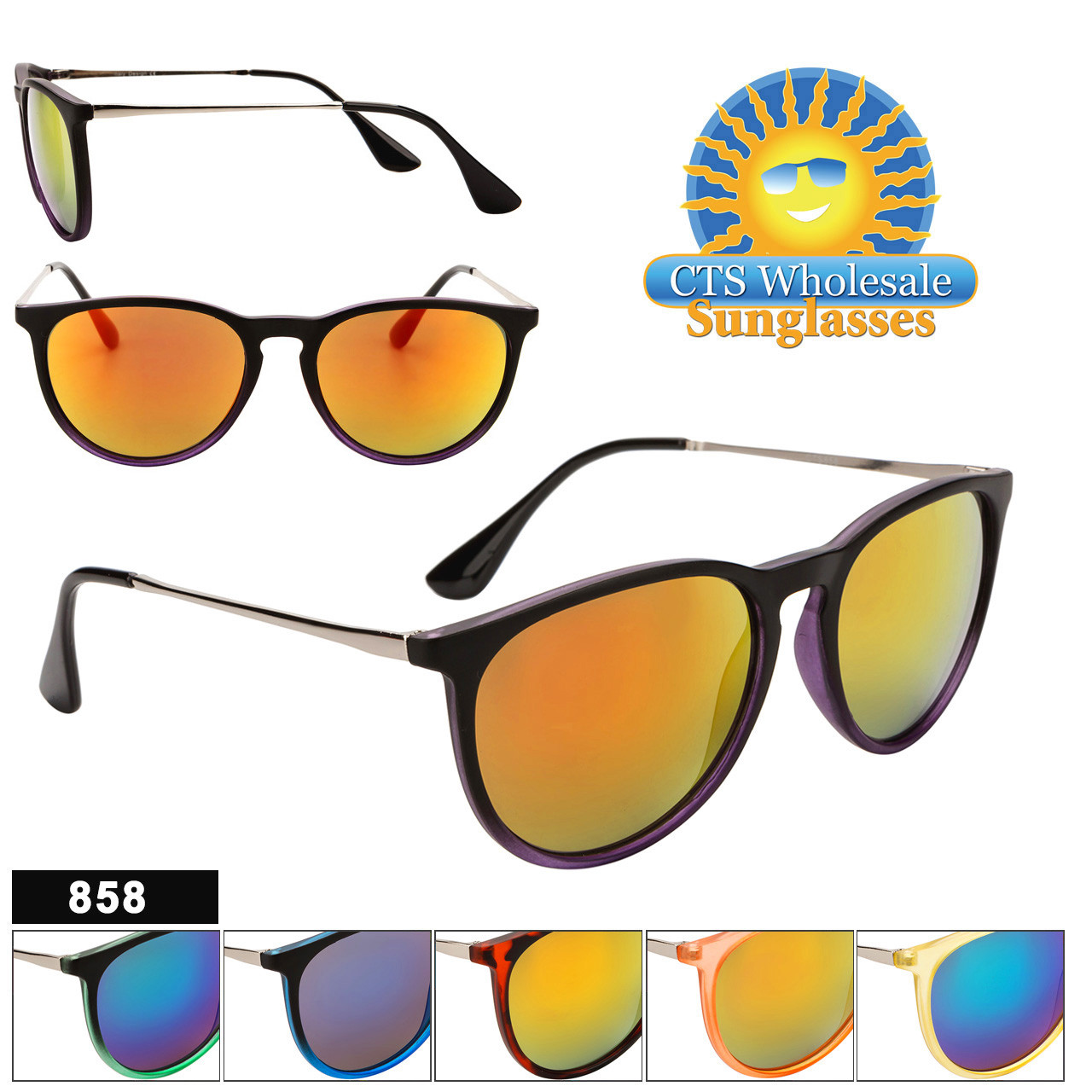 Wholesale Mirrored Sunglasses - Style #858 (Assorted Colors) (12 pcs.)