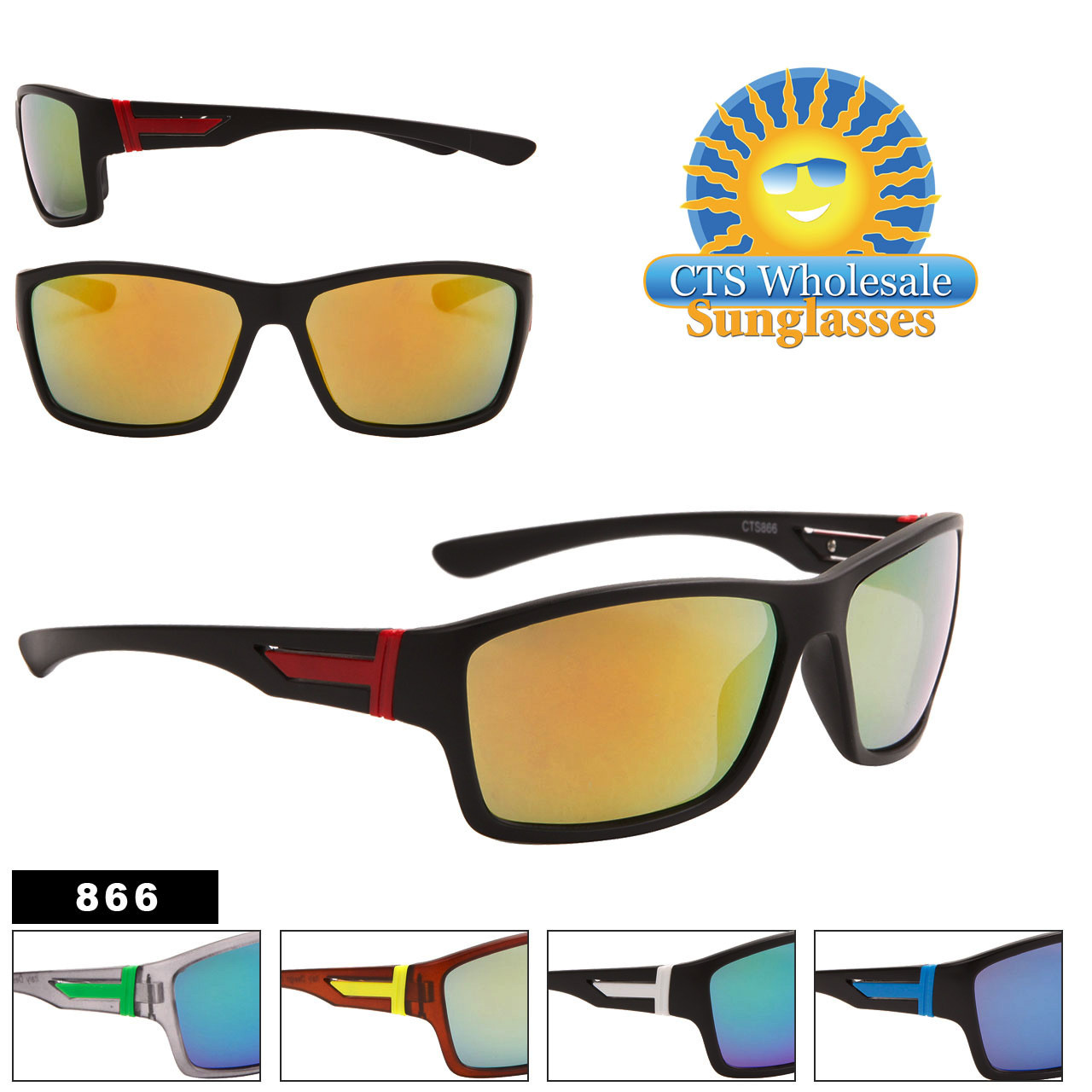 Men's Mirrored Sunglasses by the Dozen - Style #866 (Assorted Colors) (12 pcs.)