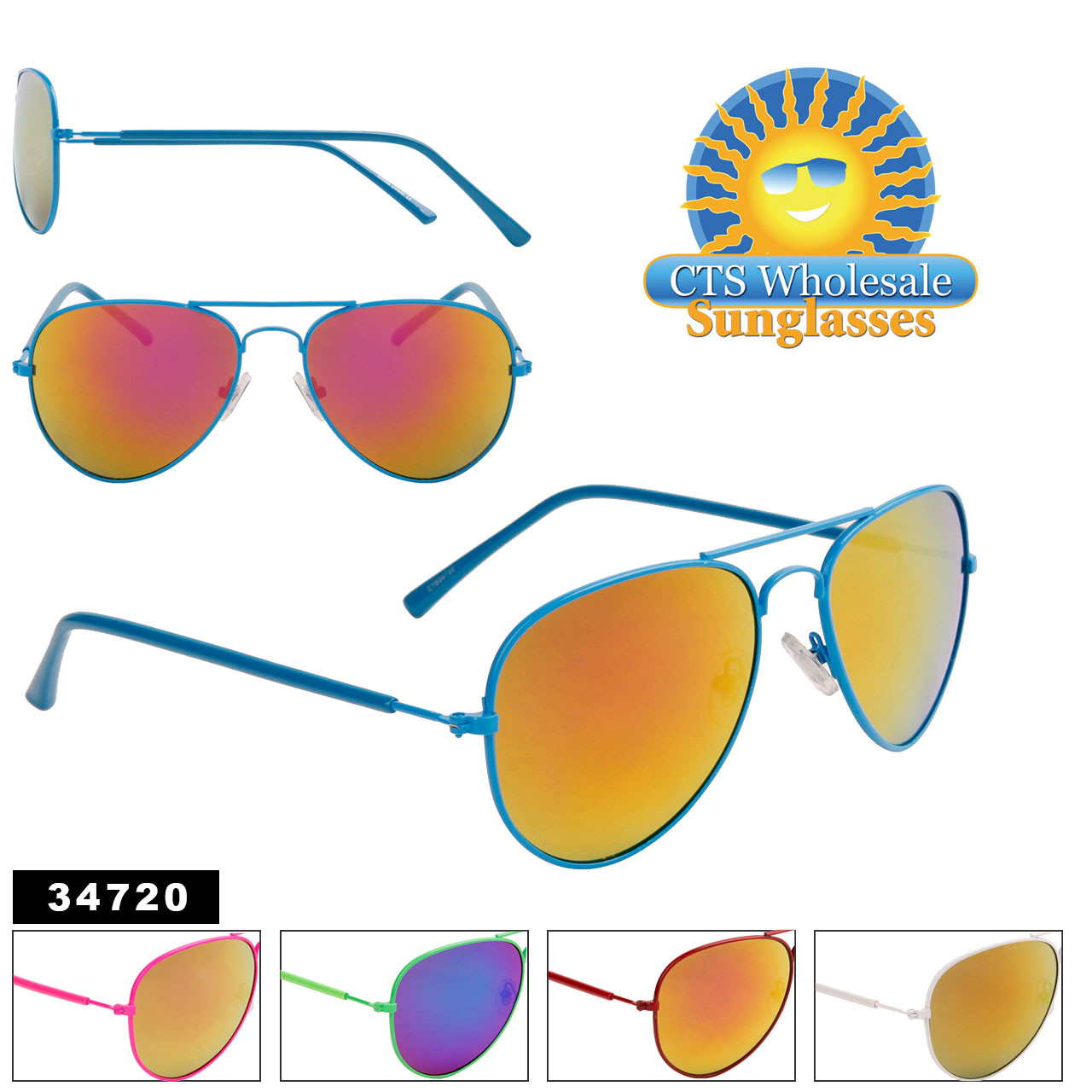 Wholesale Mirrored Aviators - Style #34720 (Assorted Colors) (12 pcs.)