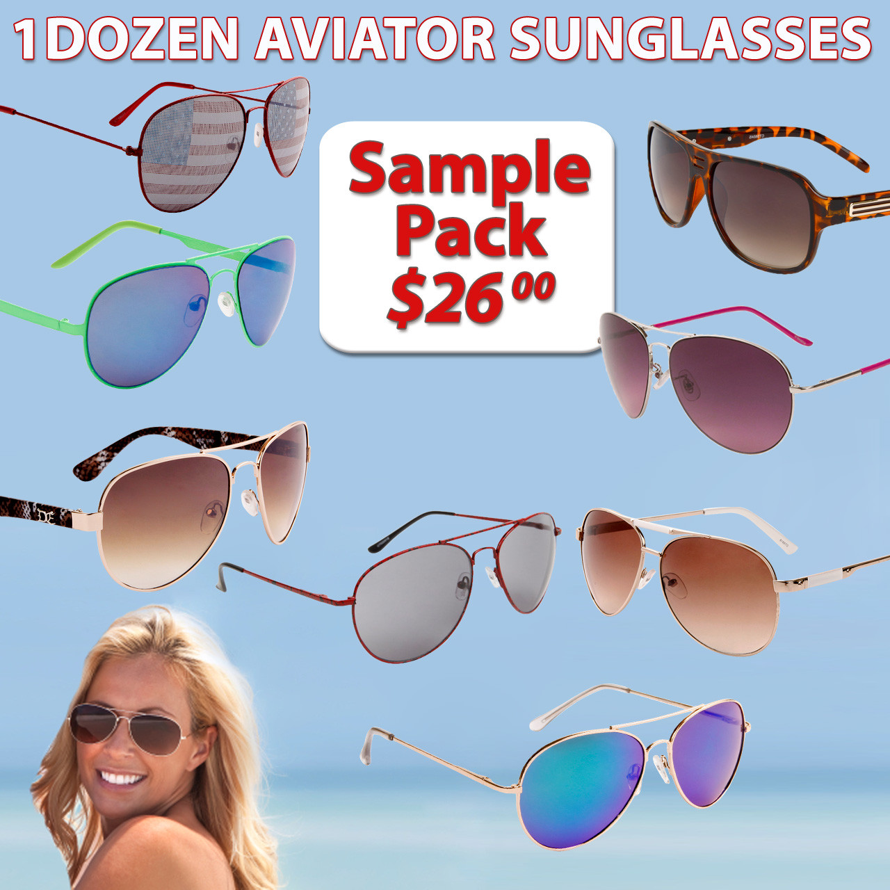 Sample Pack 12 Pair Assorted Wholesale Aviator Sunglasses SPAV (12 pcs.) (Assorted Colors)