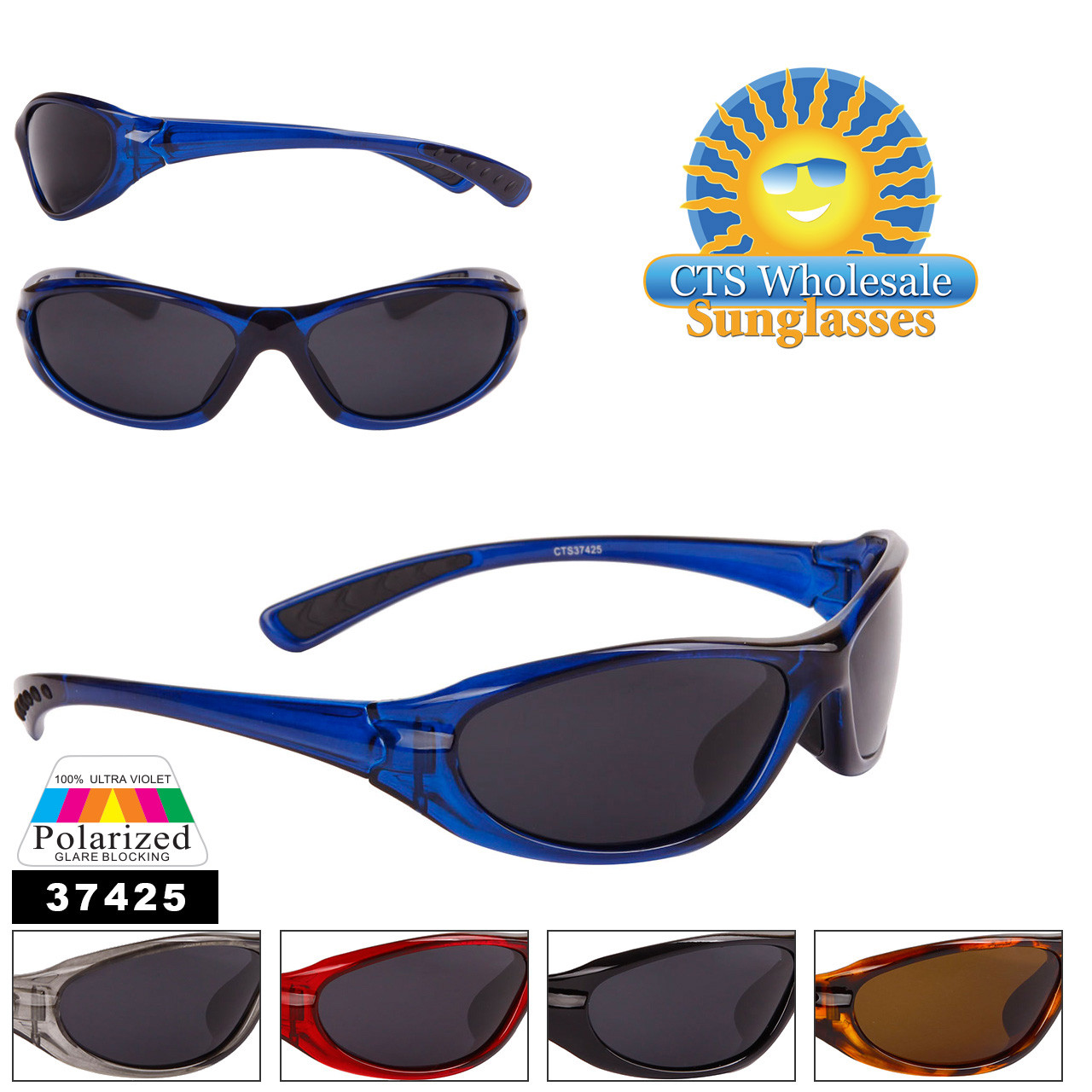 Bulk Men's Polarized Sunglasses - Style #37425 (Assorted Colors) (12 pcs.)