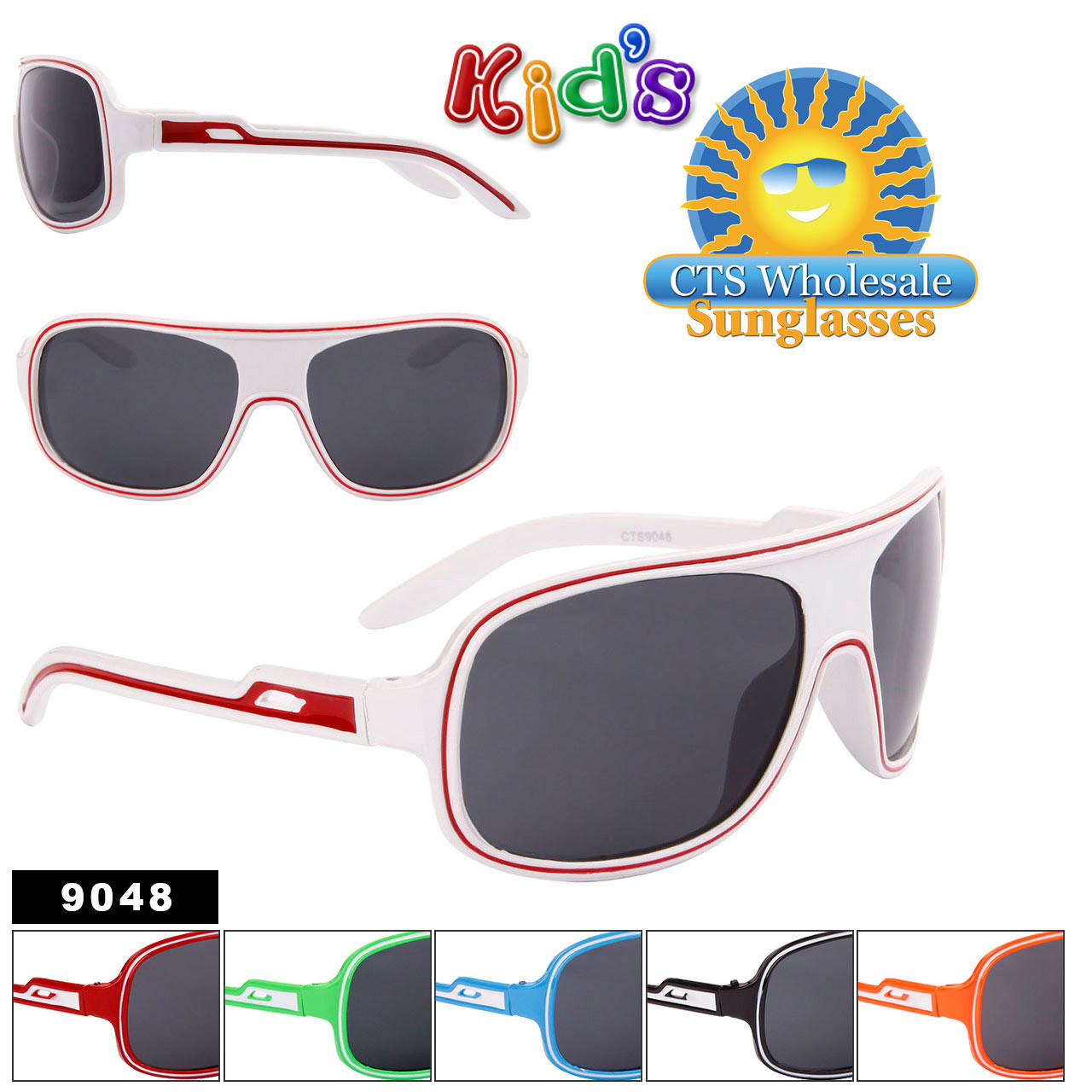 Kid's Sunglasses in Bulk - Style #9048 (Assorted Colors) (12 pcs.)