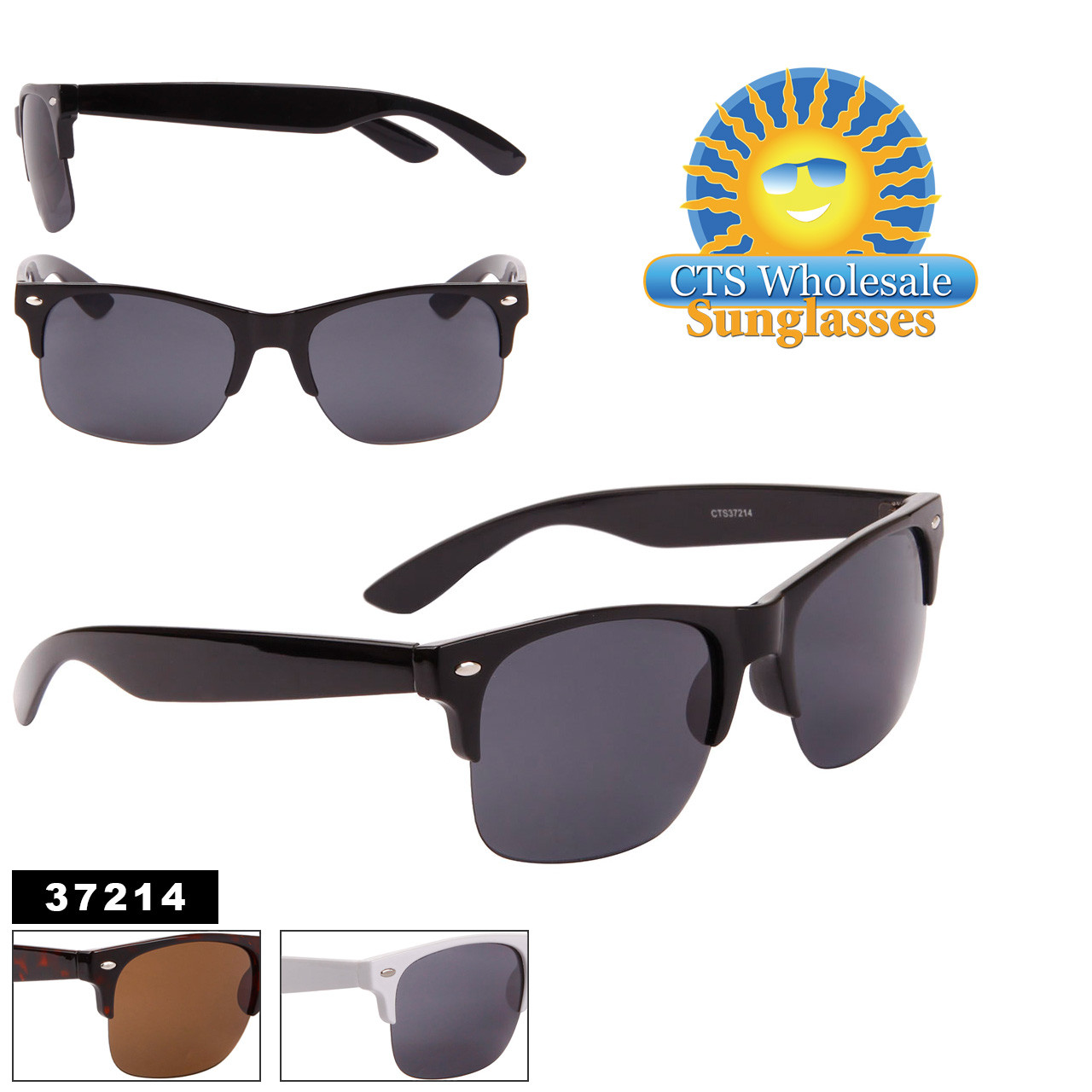 Unisex Sunglasses in Bulk - Style #37214 (Assorted Colors) (12 pcs.)