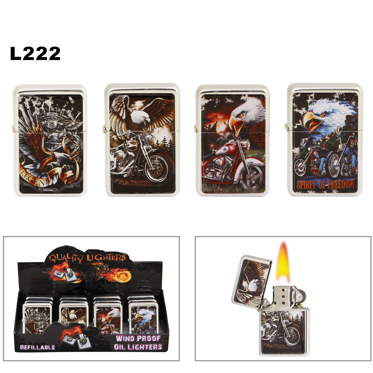 Lighters Wholesale ~ Lighter Fluid NOT Included L222 (12 pcs.) Assorted Motorcycles & Eagles