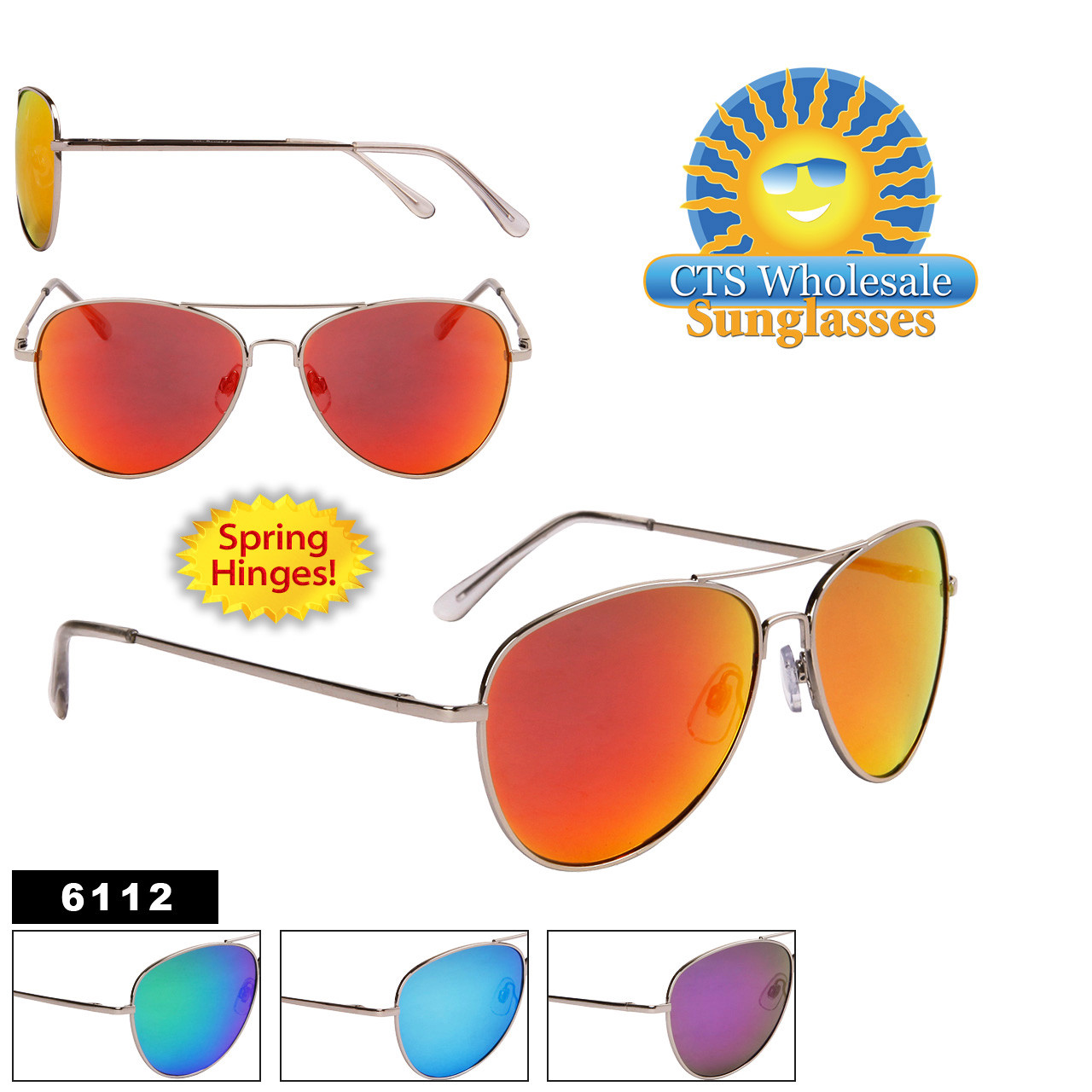 Mirror Aviator Sunglasses - Style #6112 Spring Hinge (Assorted Colors) (12 pcs.)