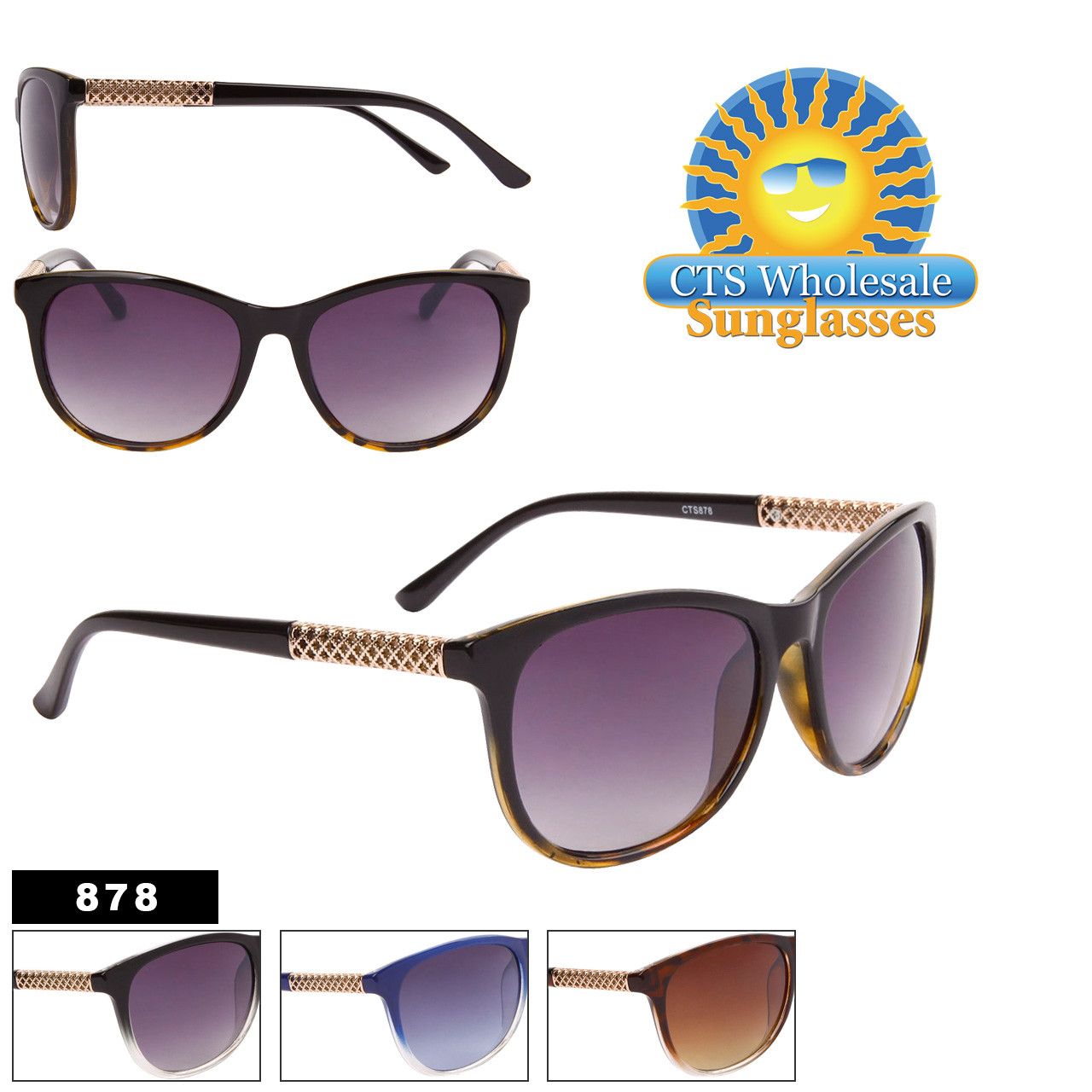 Chic Diamond Etched Metal Temple Sunglasses - Style #878