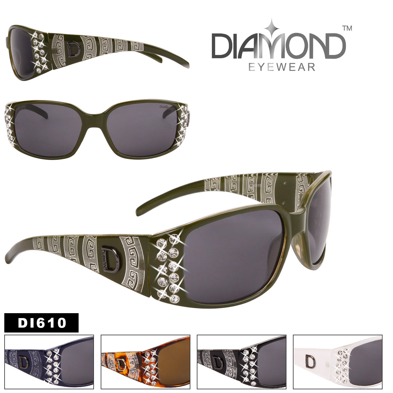 Diamond™ Rhinestone Etched Temple Sunglasses - Style #DI610 (Assorted Colors) (12 pcs.)