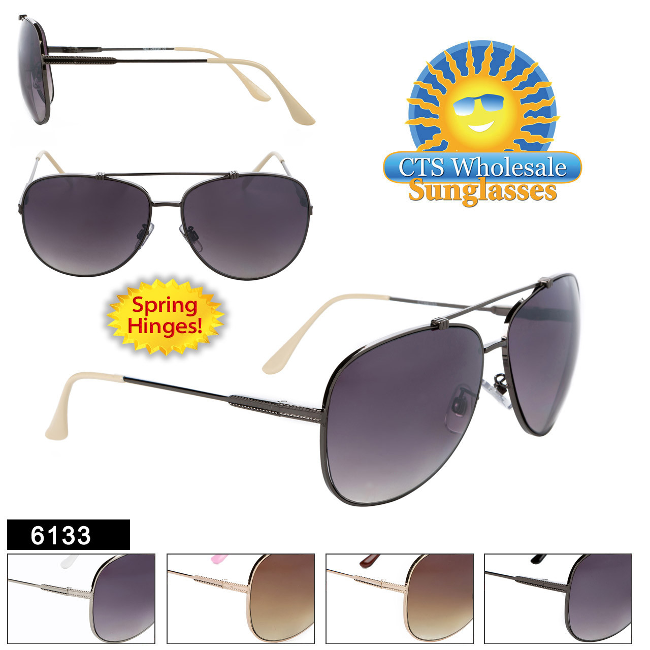 Aviator Sunglasses - Style #6133 (Assorted Colors) (12 pcs.) Spring Hinge