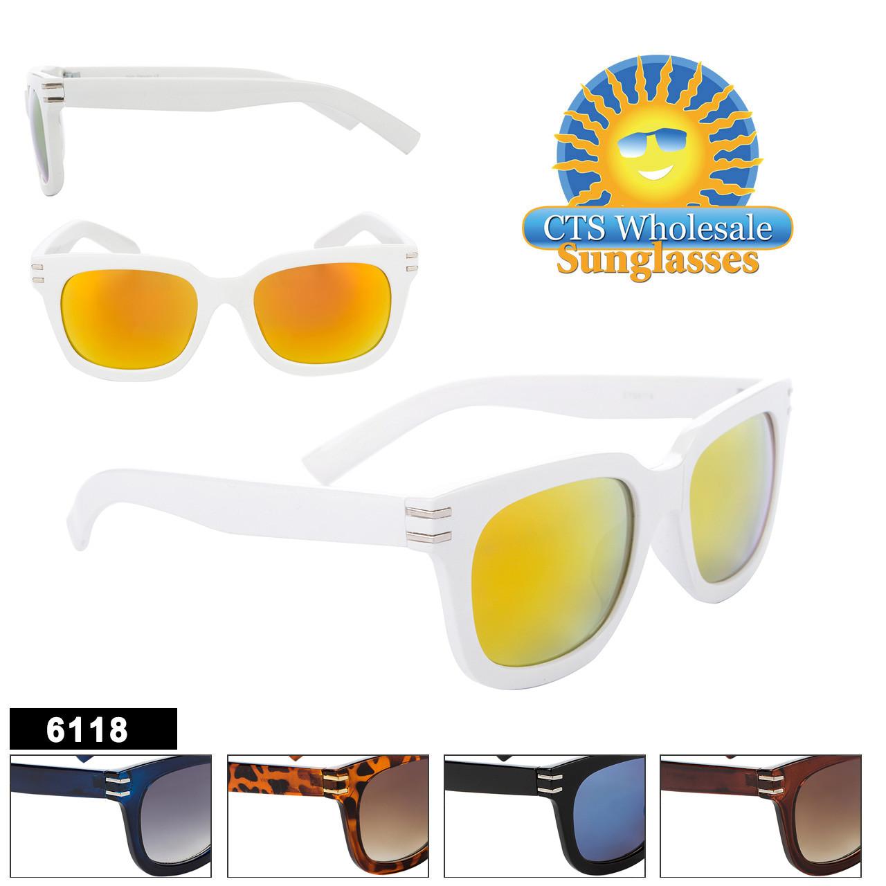 Retro Sunglasses - Style #6118 (Assorted Colors) (12 pcs.)
