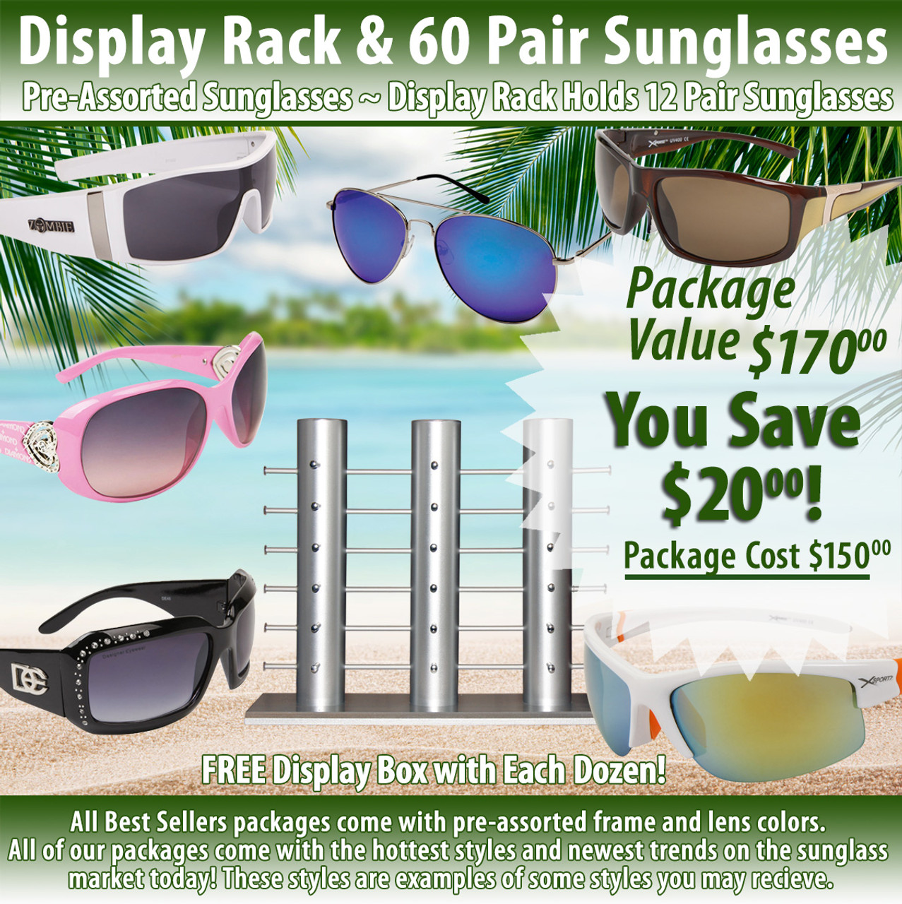 Package Deal ~ 1 Sunglass Rack & 60 Pair Assorted Sunglasses SPA16 (7057 + 60 pcs.) (Assorted Colors)