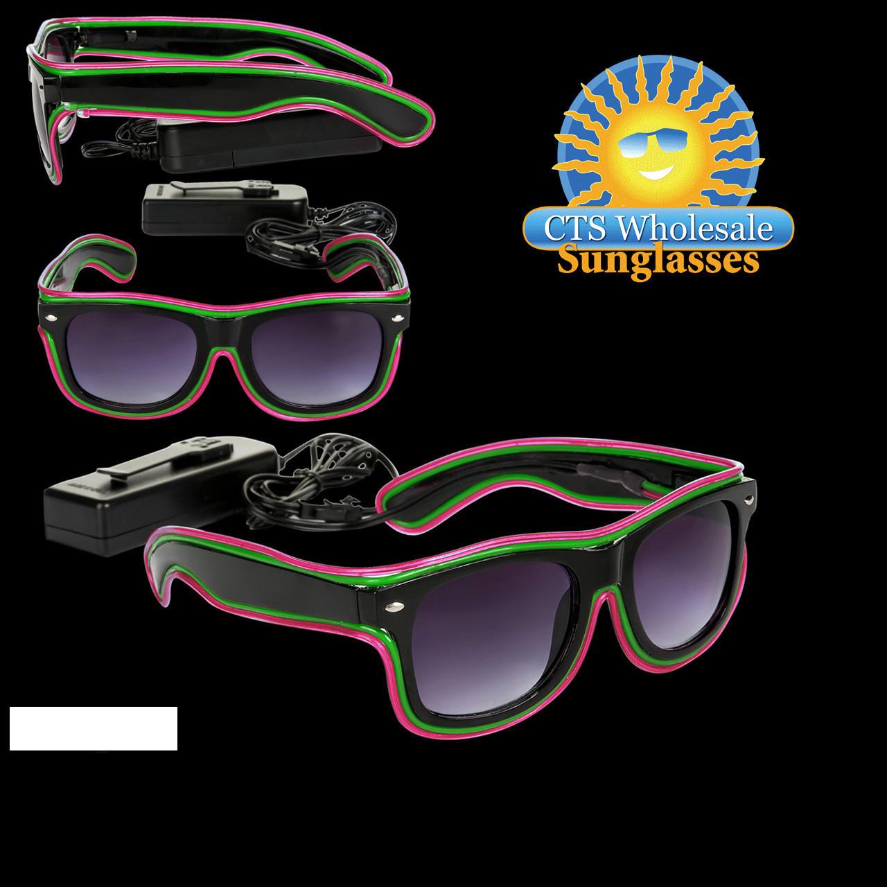 Hot Pink & Green LED Sunglasses LS001