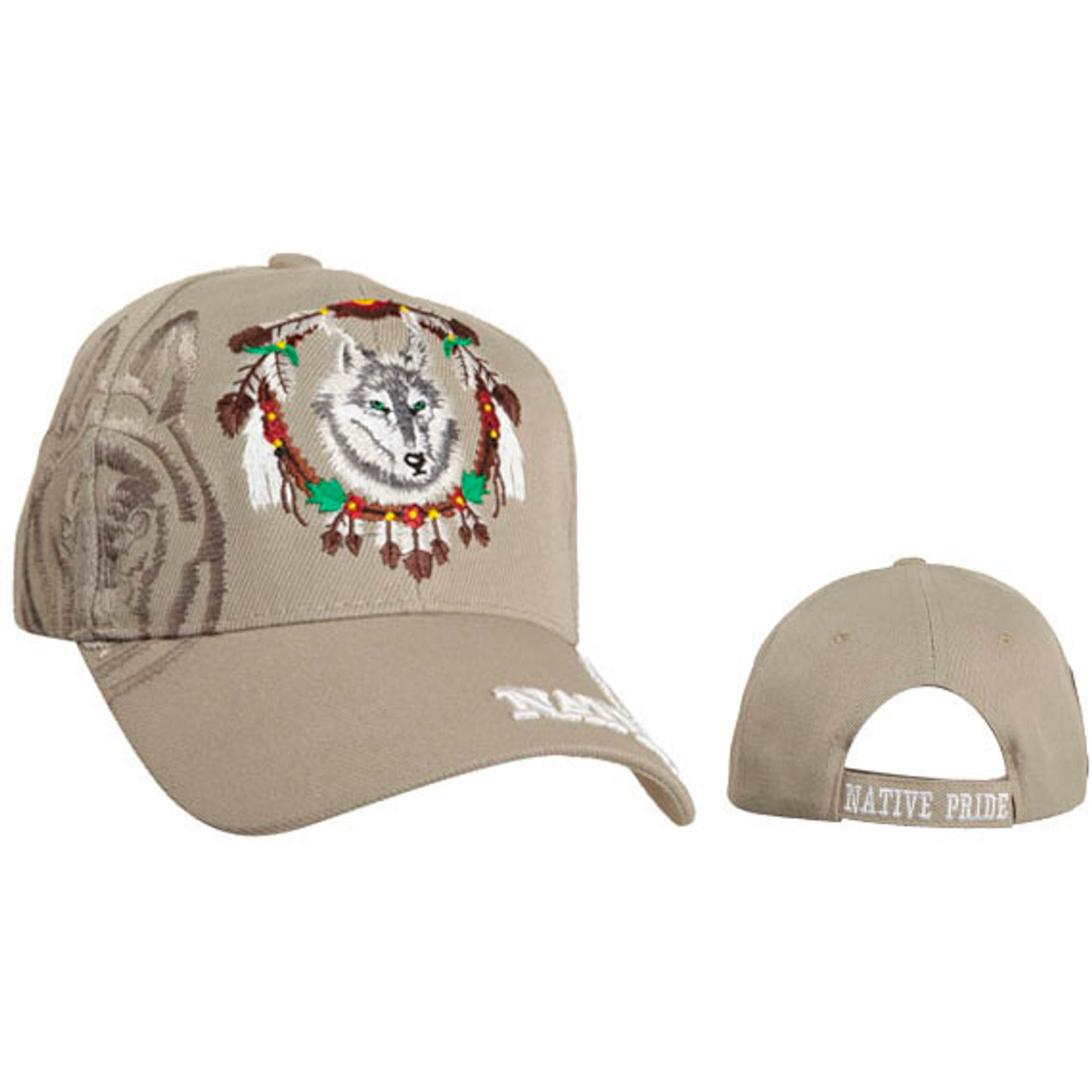 Wholesale Wolf Baseball Hat | Native Pride ~ Beige
