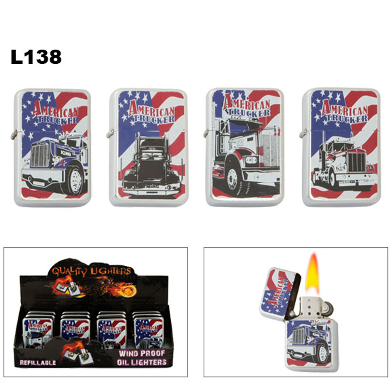 Oil Lighters American Trucker ~ Lighter Fluid NOT Included L138 (12 pcs.) Flags & Semi Trucks