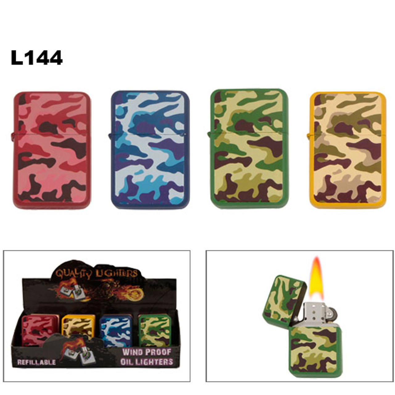 Oil Lighters ~ Lighter Fluid NOT Included L144 (12 pcs.) Camouflage Pattern