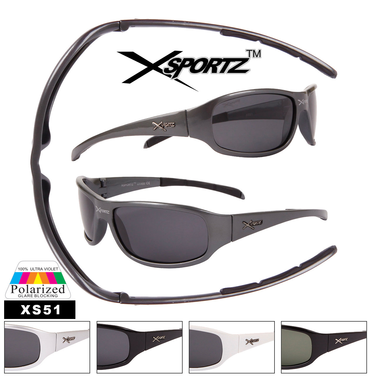 Xsportz™ Polarized Sports Sunglasses Wholesale - Style #XS51 (Assorted Colors) (12 pcs.)