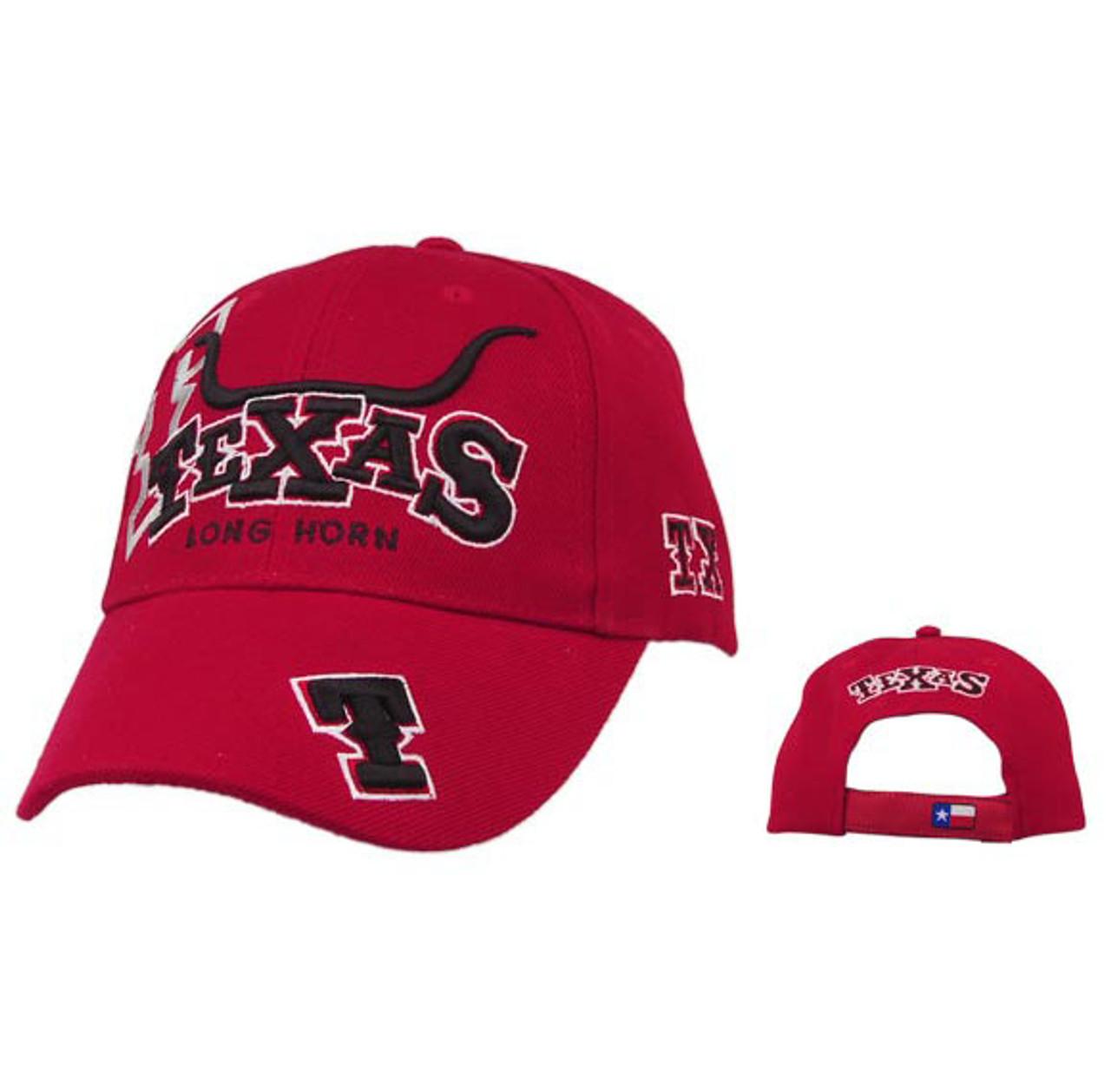 Red Texas Long Horns Baseball Caps