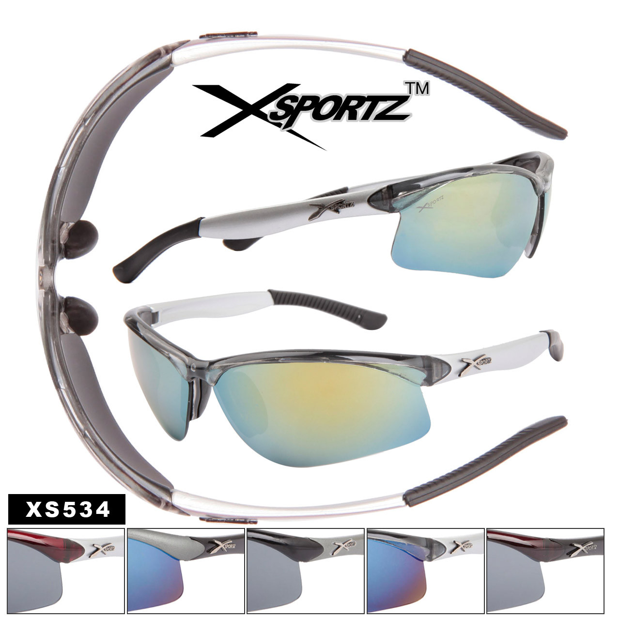 Xsportz Wrap Around Sports Sunglasses XS534 (Assorted Colors) (12 pcs.)