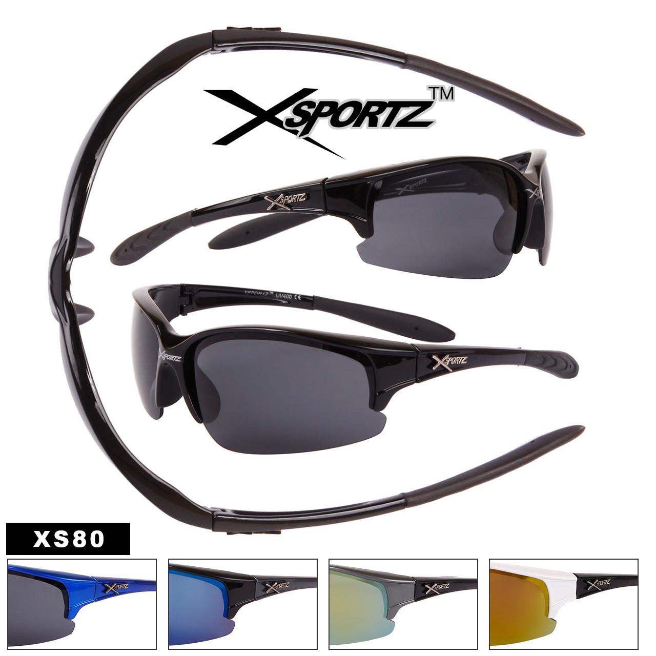 Xsportz Sports Sunglasses Wholesale - Style #XS80 (Assorted Colors) (12 pcs.)