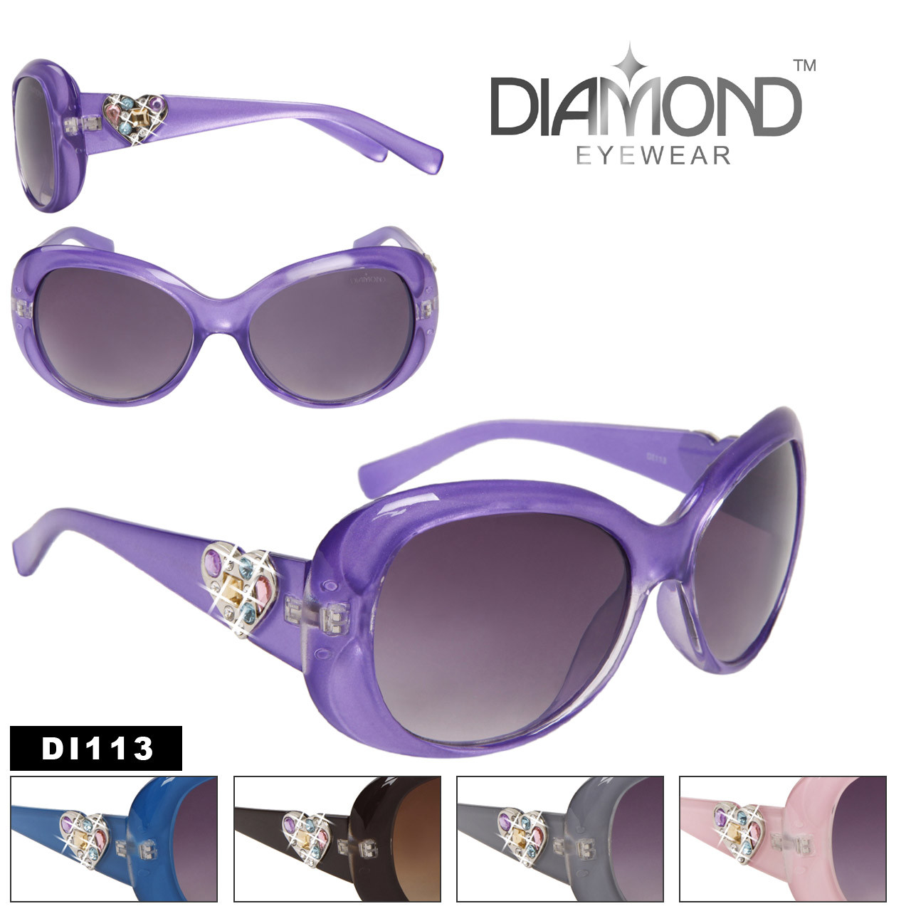 Diamond Eyewear NEW HEART RHINESTONE STYLE! DI113 (Assorted Colors) (12 pcs.)