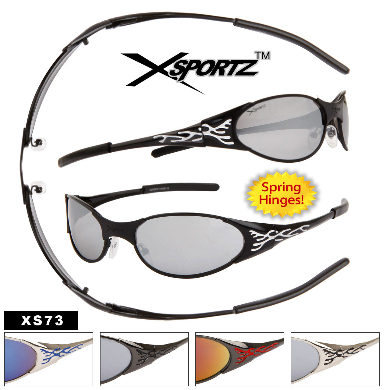 Wholesale Xsportz™ Sunglasses - Style #XS73 Spring Hinges