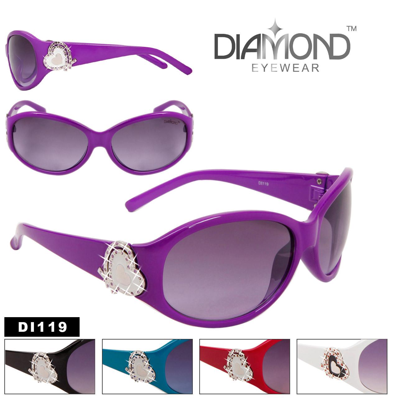Heart Accent Diamond Eyewear with Rhinestones DI119