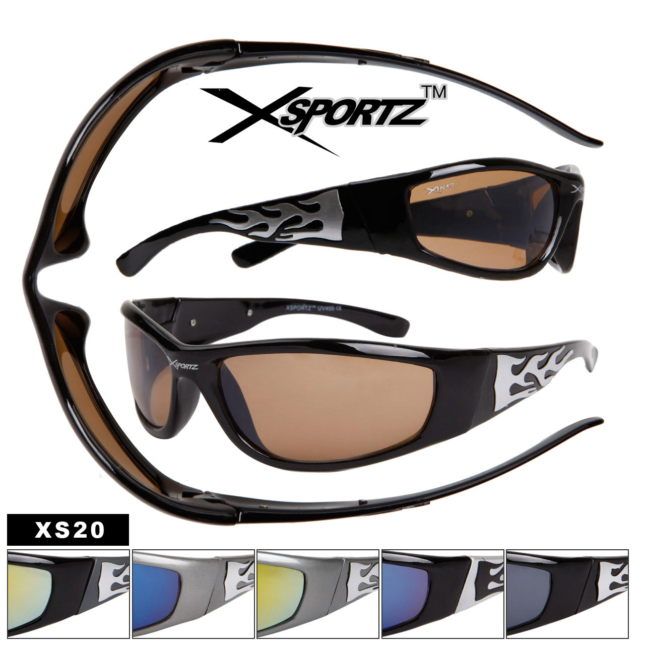 Xsportz Sports Sunglasses with Flames XS20 (Assorted Colors) (12 pcs.)