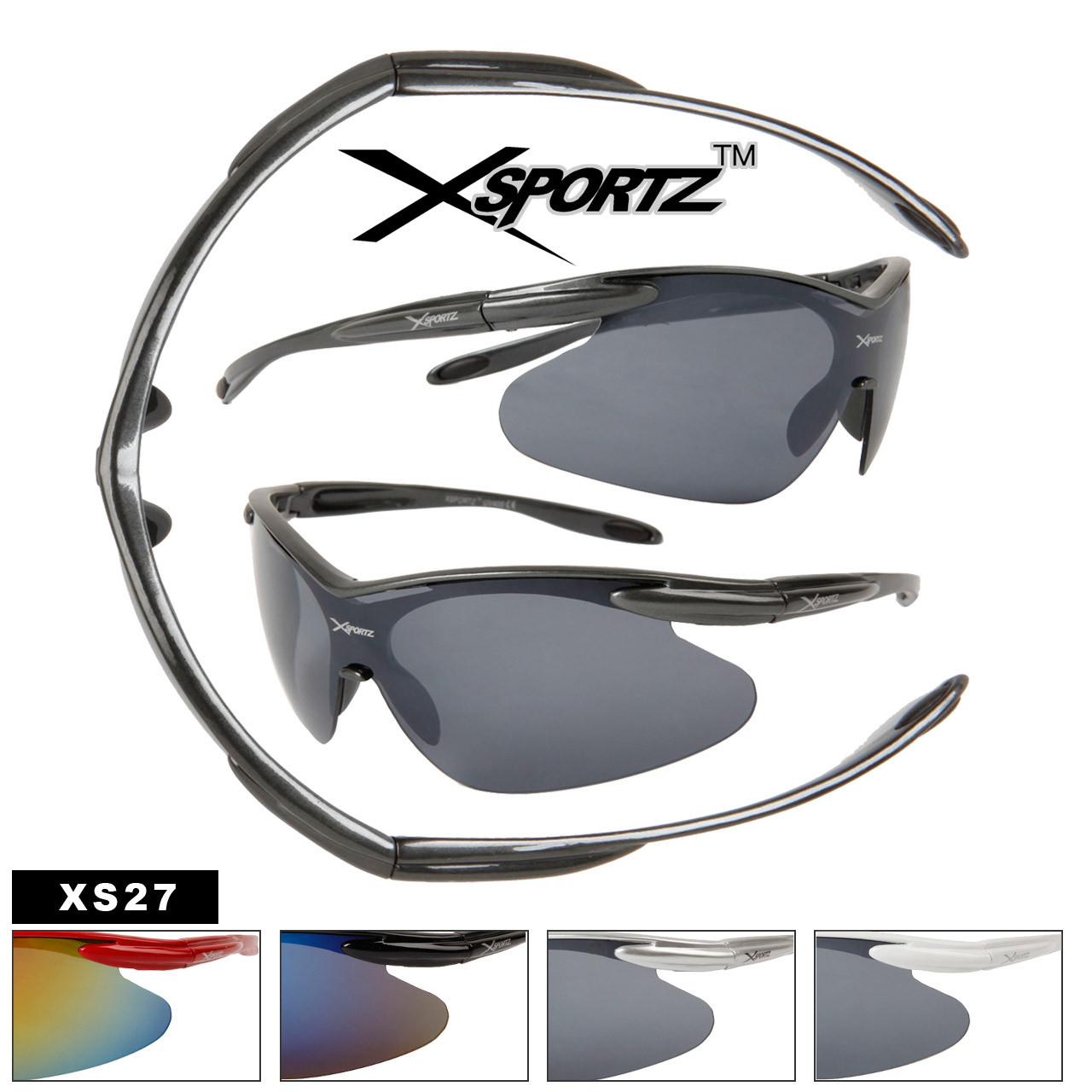 Xsportz Men's Sunglasses XS27 (Assorted Colors) (12 pcs.)