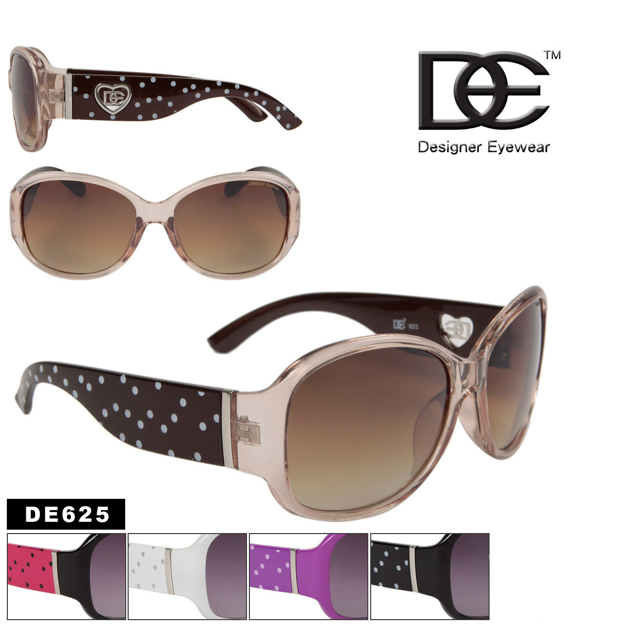 DE Designer Eyewear Fashion Sunglasses DE625 (12 pcs.) (Assorted Colors)