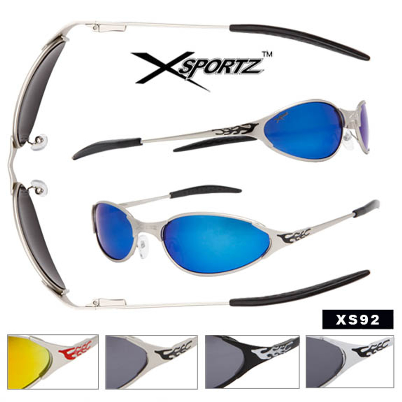 Xsportz Wholesale Sports Sunglasses with Flames XS92 (Assorted Colors) (12 pcs.)