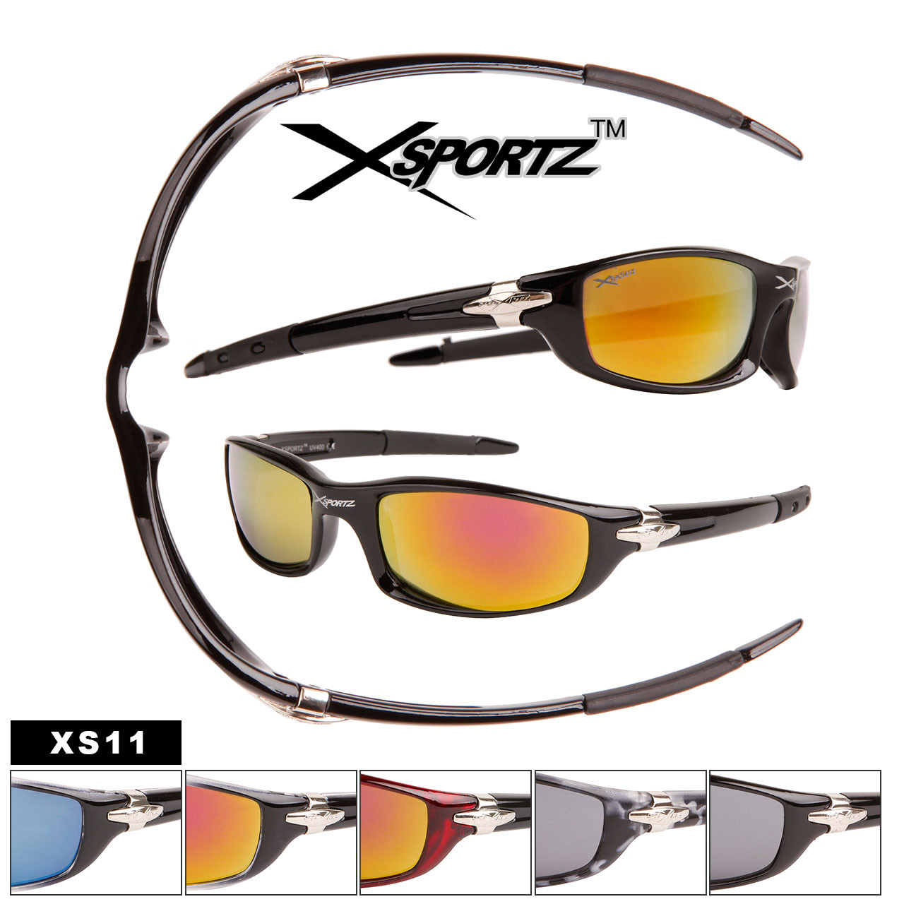 Xsportz™ Wholesale Men's Sport Sunglasses - Style XS11 (Assorted Colors)