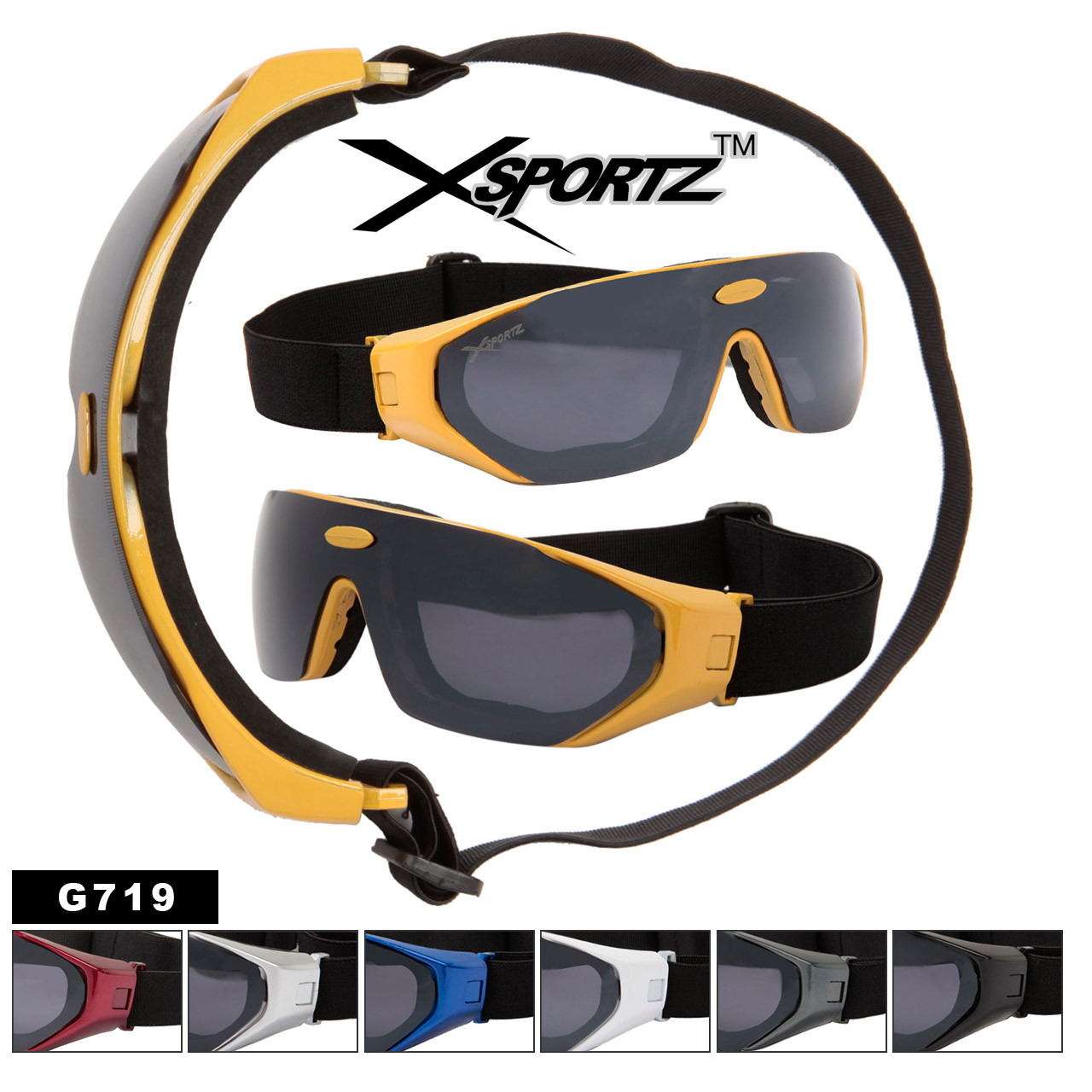 Wholesale Goggles  G719 Xsportz Brand Foam Padded  (Assorted Colors) (12 pcs.)