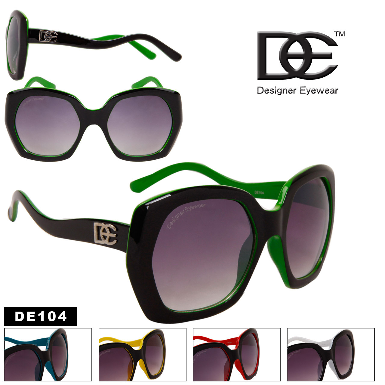 Bulk Women's Vintage Sunglasses - Style #DE104 (Assorted Colors) (12 pcs.)